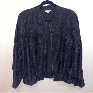 Ruffle Black Lace Nanette Lepore Zip Up Bomber Jacket Size 2